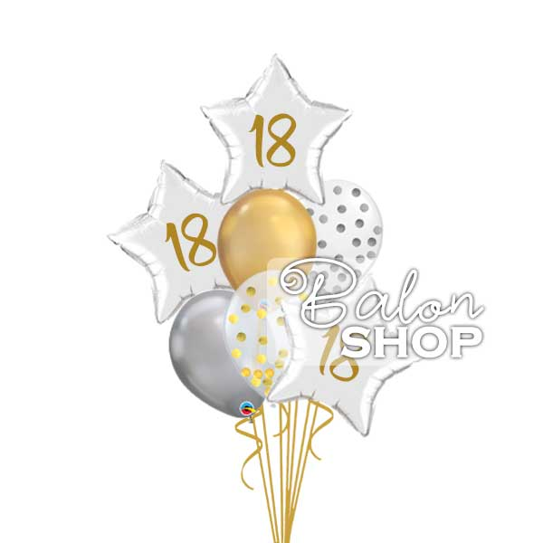 zlatno srebrni buket balona za 18 rodjendan