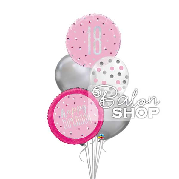 roze buket za 18 rodjendan