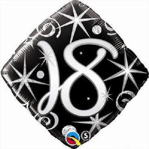 18ti rodjendan crno srebrni balon