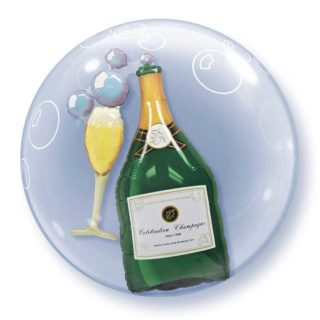 Wine bottle & glass double bubble