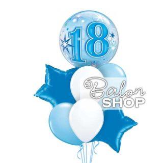 Zvezdice plave za 18 rodjendan buket balona