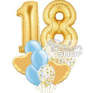Zlatno plavi buket sa konfetama za 18-ti rodjendan