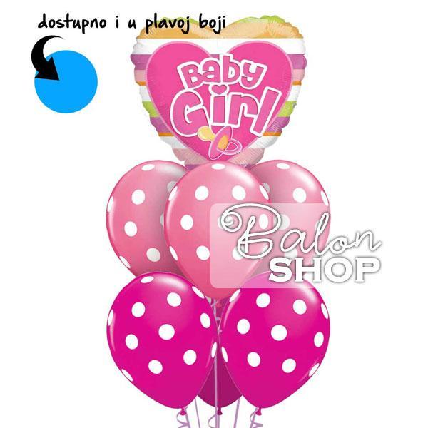bay girl tufnice buket za rodjenje bebe