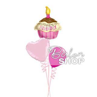 Mini roze rođendanski buket od balona