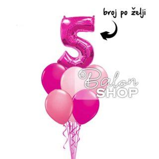Rozi rođendanski buket balona sa brojem