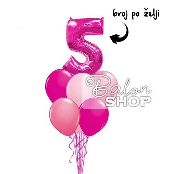 buket balona roze broj