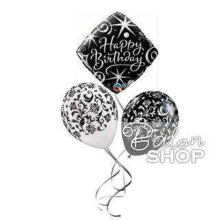 Buket balona Crno & Beli Happy Birthday
