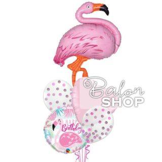 Flamingo Happy Birthday sa konfetama buket balona