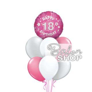Happy 18 birthday roze buket balona