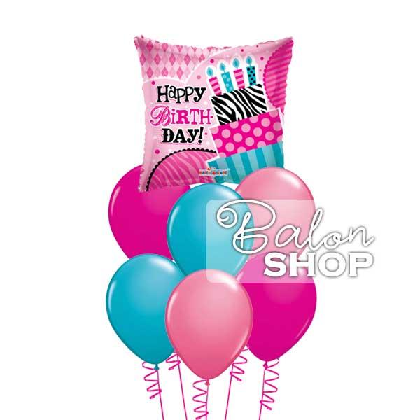 tirkizno roze buket balona