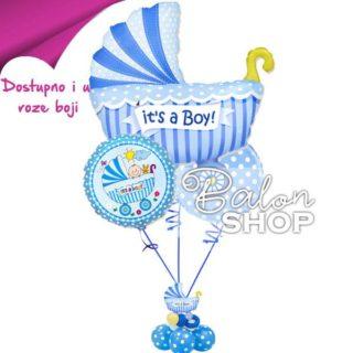 Kolica buket balona za rođenje bebe