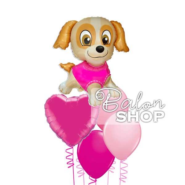 kuca pink buket balona