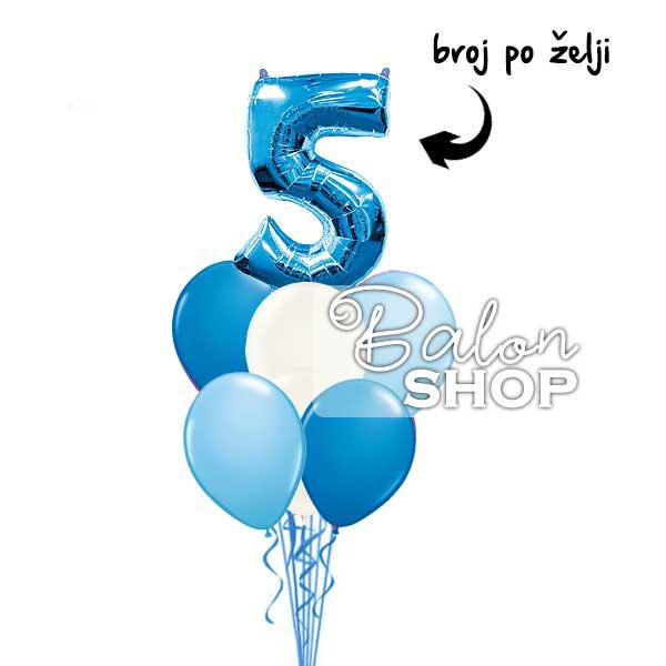 plavi buket balona sa brojem
