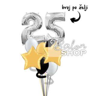 Rođendanski buket balona LUX sa brojem