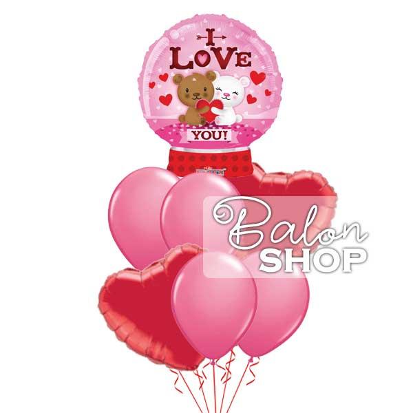Roze snowball buket balona