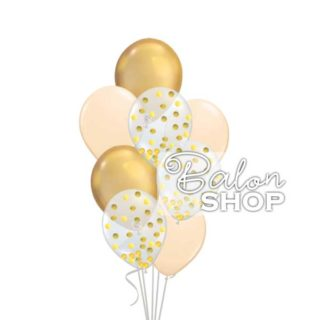Chrome zlatno krem buket sa konfetama