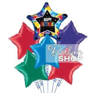 Zvezdice za srećan rođendan buket balona