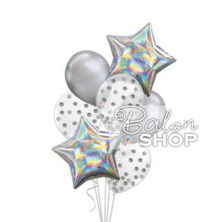 Hologaphic srebrni buket balona sa helijumom
