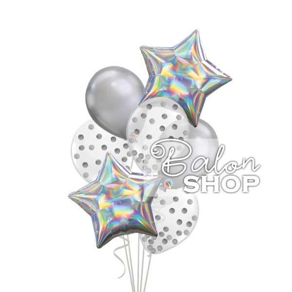 holographic srebrni buket balona