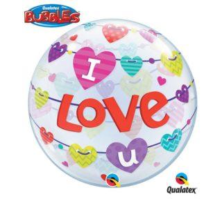 I Love you banner bubble balon