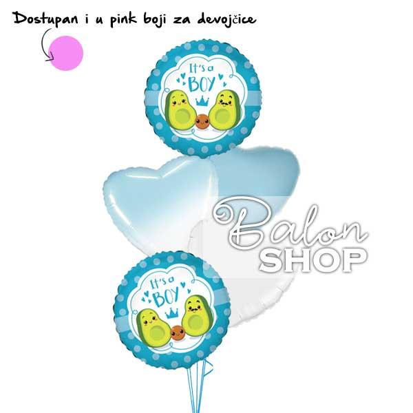 avokado buket balona za rodjenje