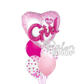 Baby Girl 3D helijumski baloni u buketu