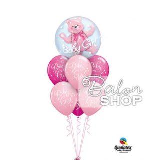 Buket balona Baby Girl sa medom