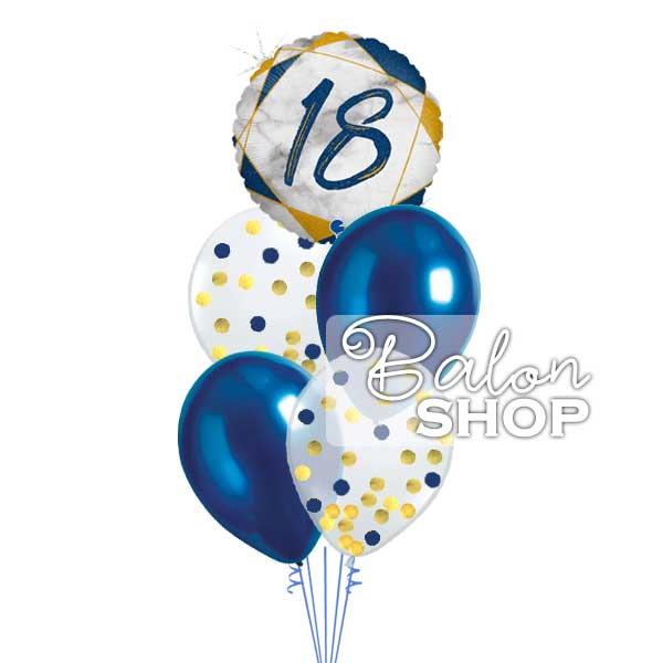 baloni za 18 rodjendan plavo zlatni