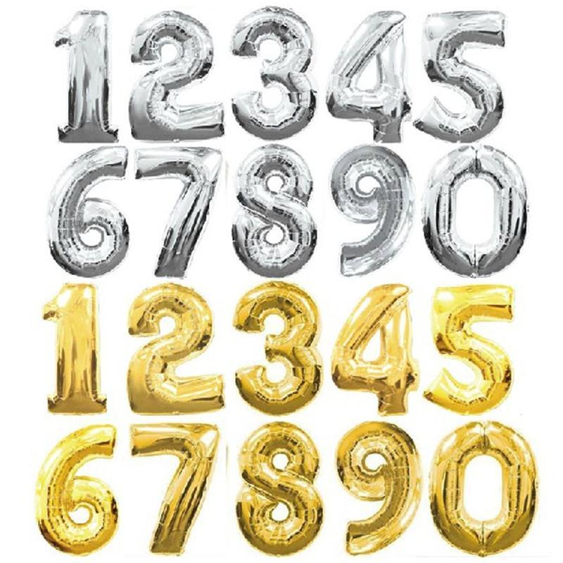 baloni brojevi zlatni i srebrni