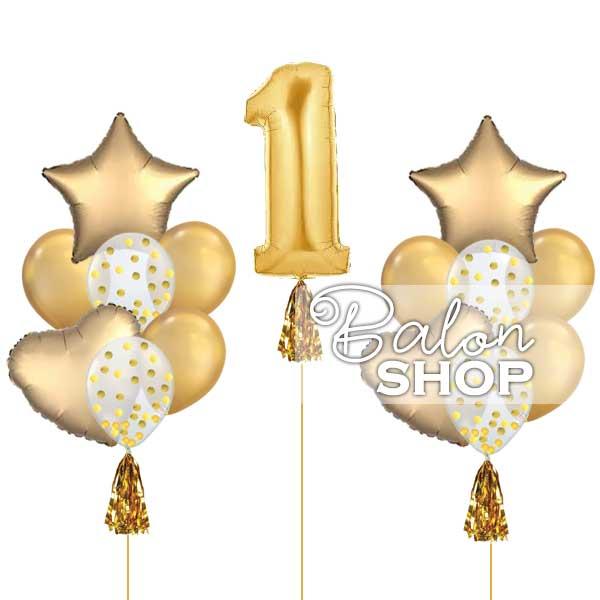baloni za prvi rodjendan set gold