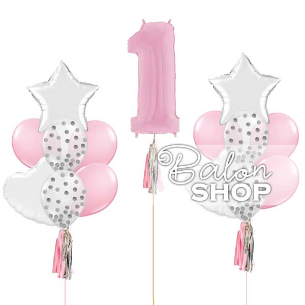 baloni za prvi rodjendan set roze srebrno