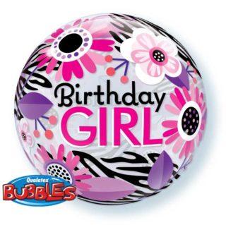 Birthday GIRL bubble baloni
