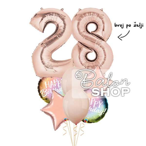 broj balon za rodjendan u buketu