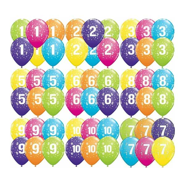 brojevi gumeni baloni