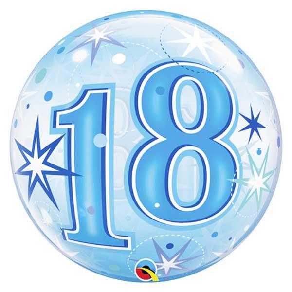 18 rodjendan bubble balon plavi