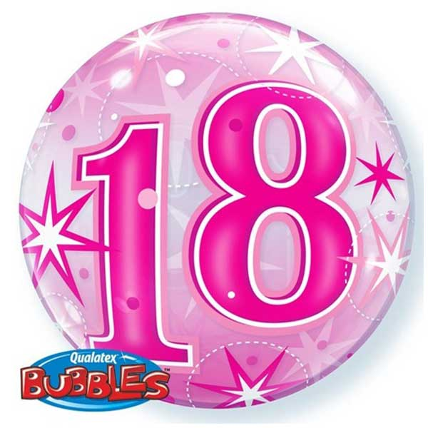 18 rodjendan bubble balon roze