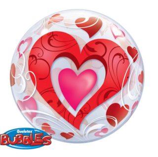 Bubble balon sa crvenim srcima