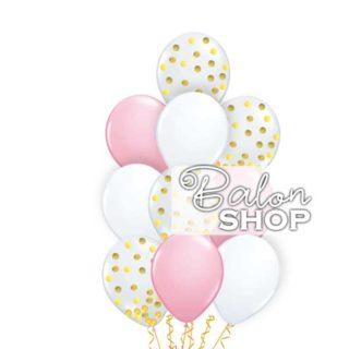 Roze beli buket sa konfetama