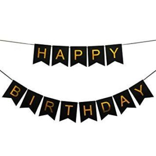 Crni baner Happy Birthday