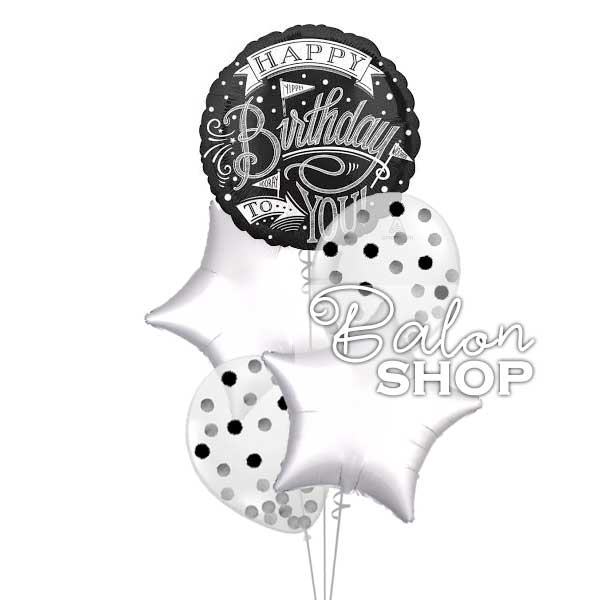 crno beli buket balona