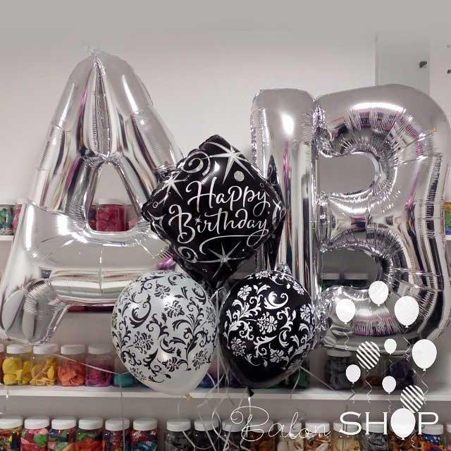 crno beli rodjendanski baloni