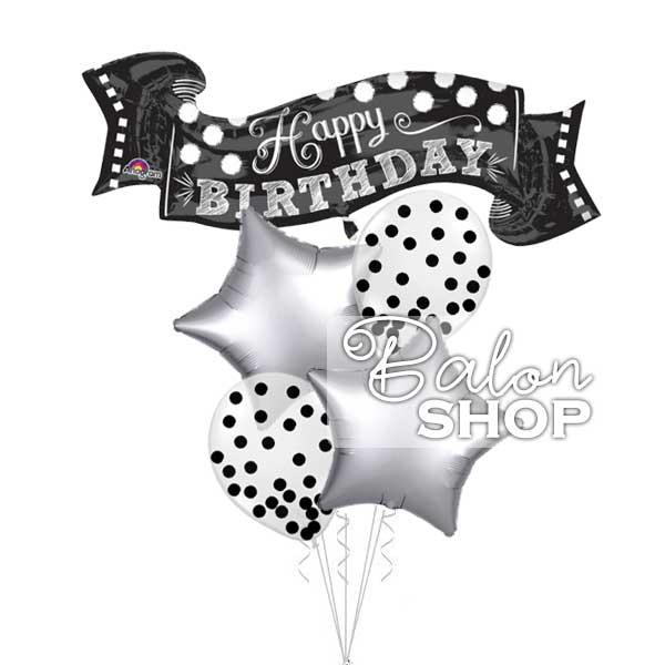 crno srebrni rodjedanski baloni u buketu