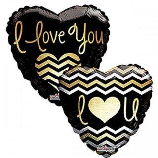 Elegantan ljubavni balon crno zlatni