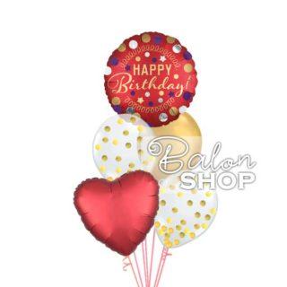 Crveno zlatni rođendanski baloni sa helijumom