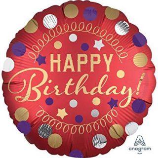 Crveno zlatni Happy Birthday balon