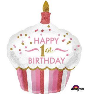 Cupcake balon za prvi rodjendan devojcica