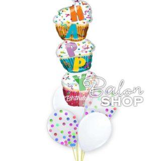 Cupcake baloni u buketu sa konfetama