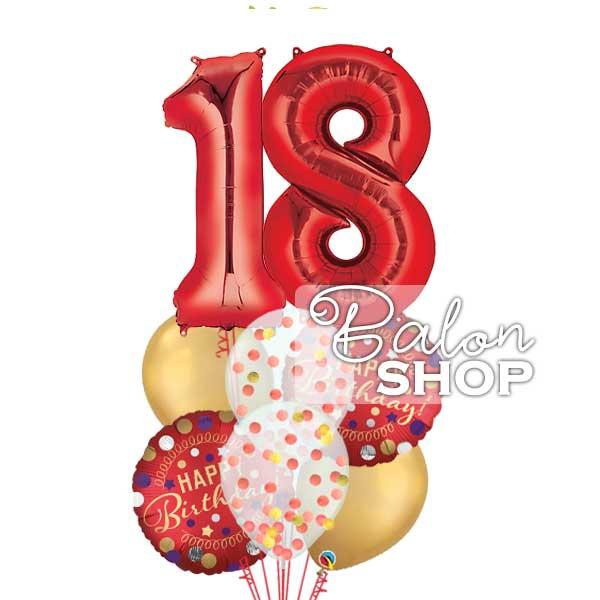 18 rodjendan dekoracija crveno zlatno