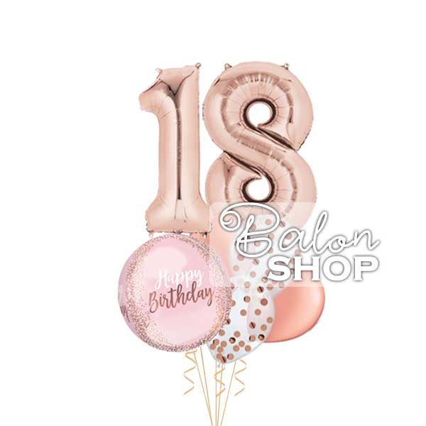 happy birthday rose gold buket za 18 rodjendan