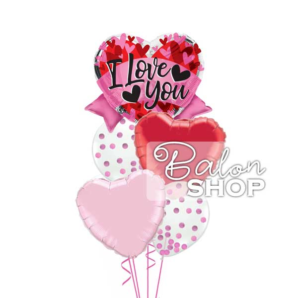 i love you roze crveni sa konfetama baloni u buketu